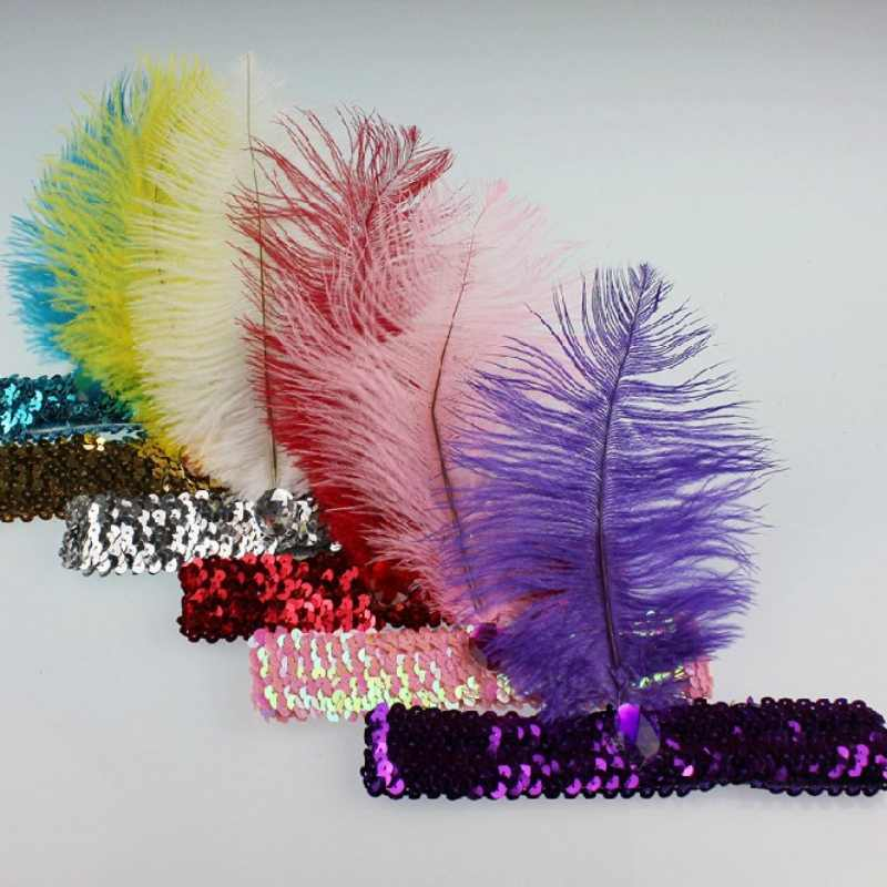 10 Warna Women Head Band Beaded Payet Flapper Ikat Kepala Bulu Headpiece Pesta Kostum Aksesoris Rambut