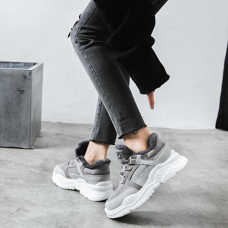 2019 обувь; теплые зимние женские ботинки на платформе; женские повседневные кроссовки с плюшем; женские зимние ботинки из искусственной замши; Теплая обувь на меху