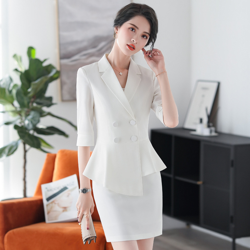 Professional Women's Pants Suit Set 2020 Spring And Summer New Casual High Quality Ladies White Blazer Slim Skirt Two-piece