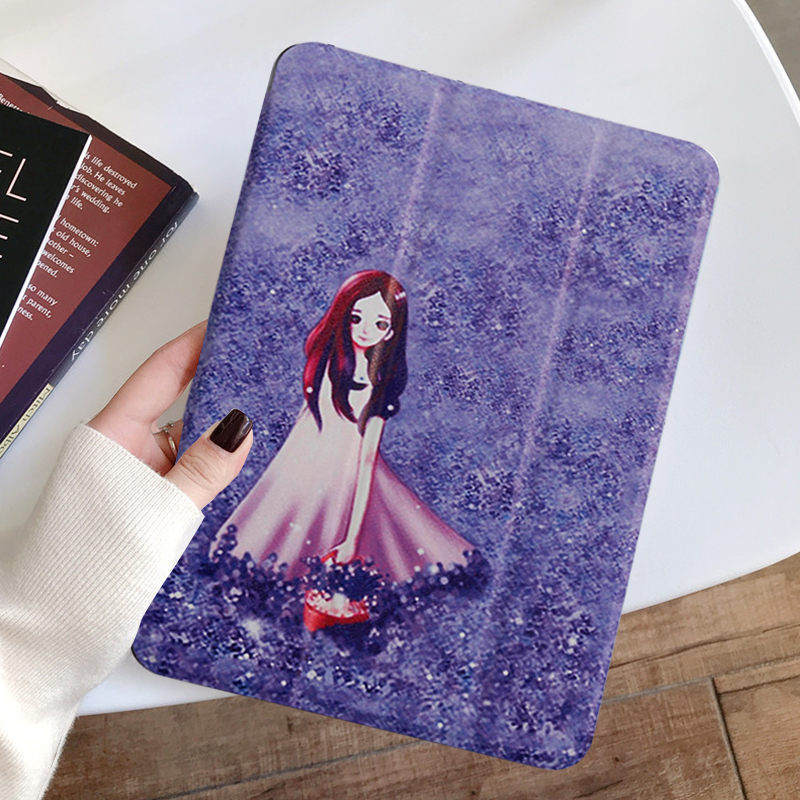 lavender Blue Painted Tablet case for Apple iPad 10 2 inch 2020 Transparent Hard Shell Protection Cover for