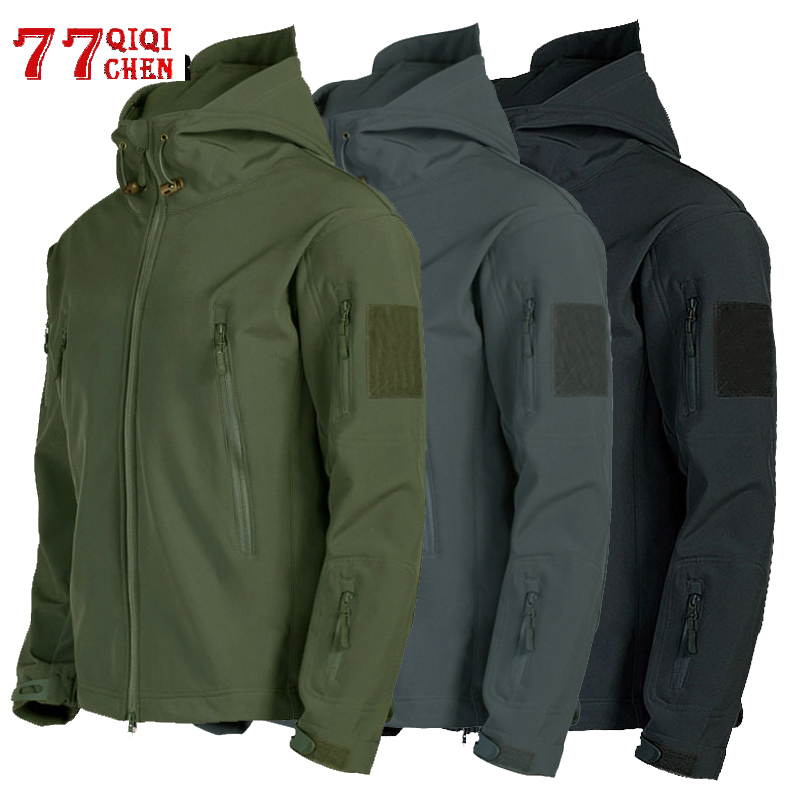 Tactical Jacket Men Shark Skin Soft Shell Military Windproof Waterproof Army Combat Mens Jackets Hooded Bomber Coats Male S-3XL