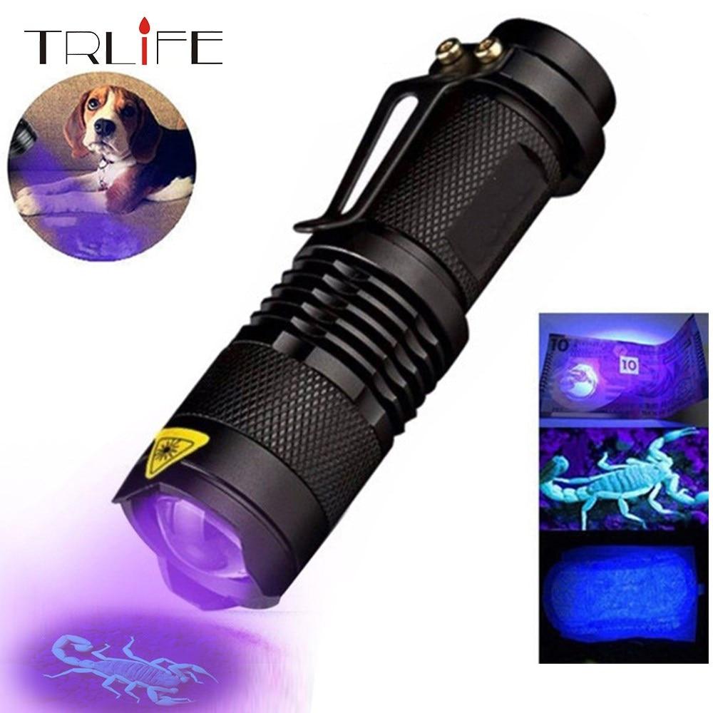 Lampe de poche UV 365nm/395nm lampe torche à lumière ultraviolette Zoomable pour la détection de marqueurs à l'aide d'une batterie AA/14500