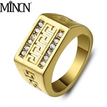 MINCN Mens Punk Style Stainless Steel Ring Openwork Vintage Great Wall Pattern MensRing