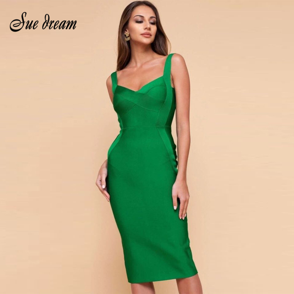 2020 Autumn New Fashion Blue Red Sleeveless Strap Bandage Dress Knee Long Sexy Party Dress Tight Dress Wholesale