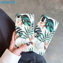 Banana Leaf Phone Case for iPhone XS Max XR 6 6S 7 8 Plus X Retro Style Flower Floral Soft Back Cover Art Flowers Fundas