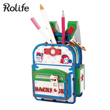 Rolife DIY Schoolbag Model Wooden Crafts Box Home Decor For Children Kids Girls(China)