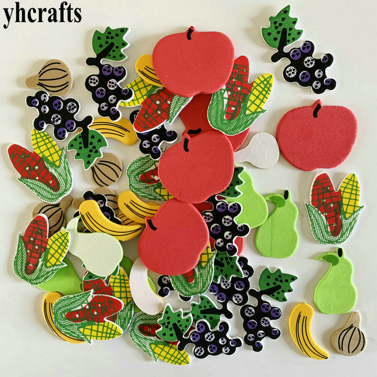 1 пакет/Партия. Осенняя уборочная белка, птица, лиса, ежик, Сова, поролоновые наклейки, Осенний лист, ремесла, элементы деятельности, украшение детской комнаты, OEM - Цвет: 48PCS fruit