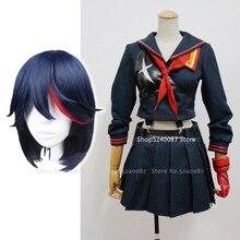 Japanese Anime KILL La KILL Matoi Ryuko Wig Short Hair Cosplay Costume T-shirt Skirt Gloves Belt School Uniform Navy Sailor Suit