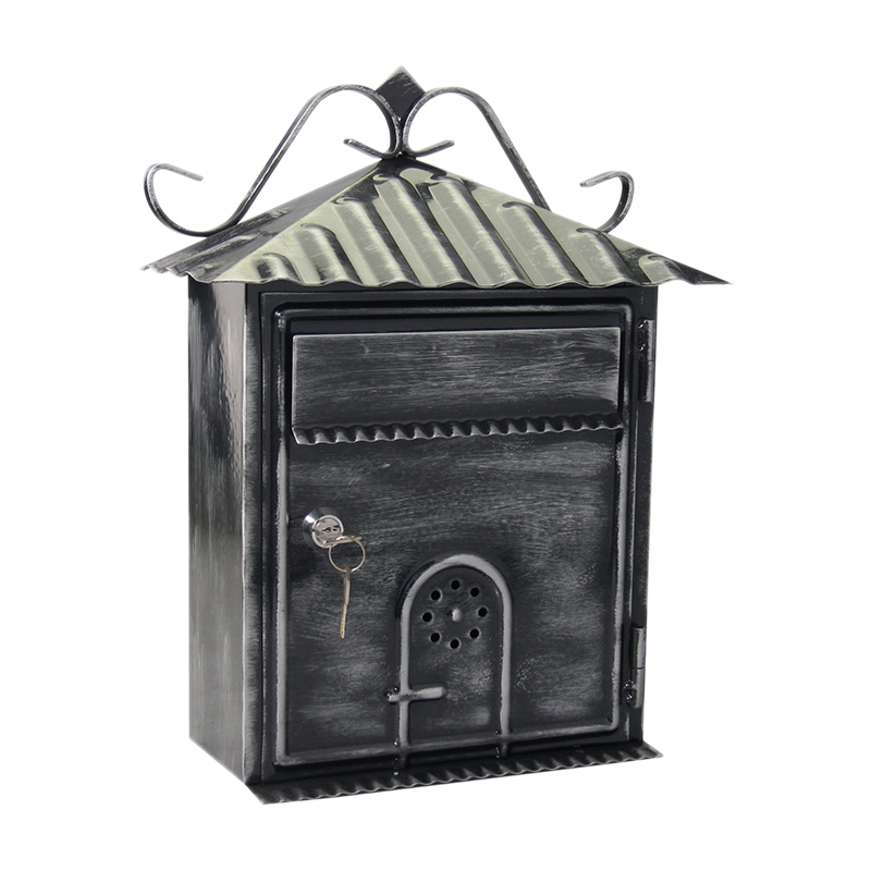 Letter Box, Metal Letter Box Retro Black Vertical Lockable Mailbox, Anti-Rust ,Photography Props Fresco Wedding Bar Cafe Home De