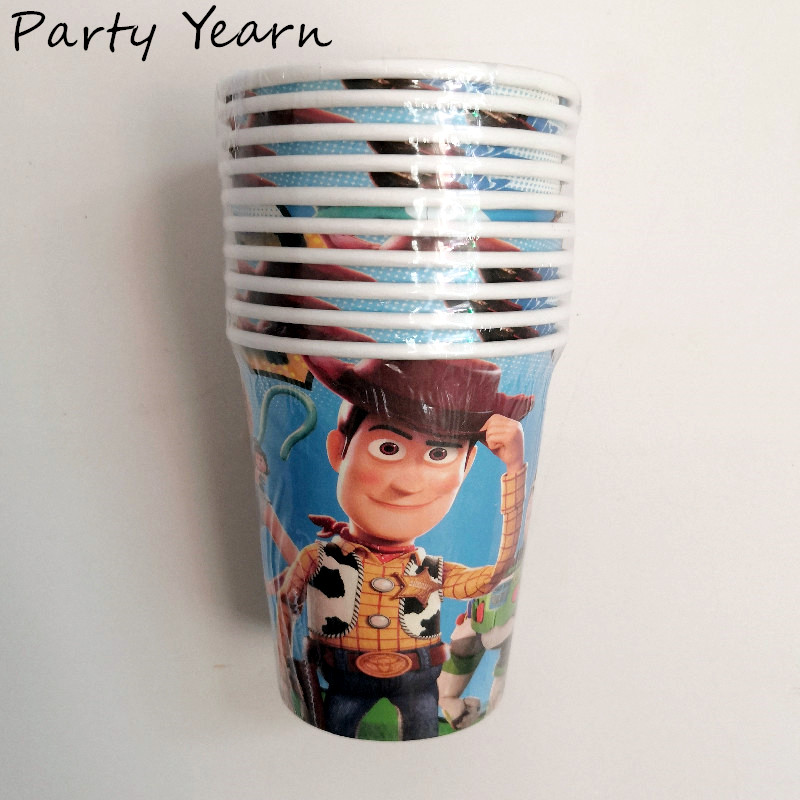 10pcs Toy Theme Party Supplies Children's Story Birthday Party Cups Decoration Tableware Kids Toy Disposable Paper Cups