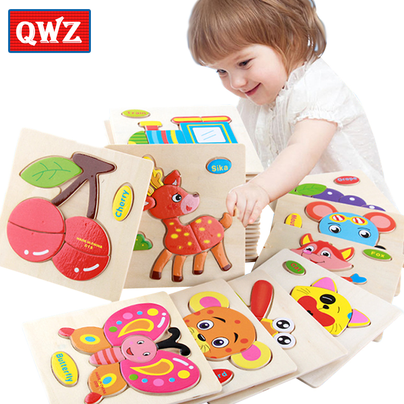 QWZ Wooden 3D Puzzle Jigsaw Wooden Toys For Children Cartoon Animal Puzzles Intelligence Kids Children Educational Toys Gifts