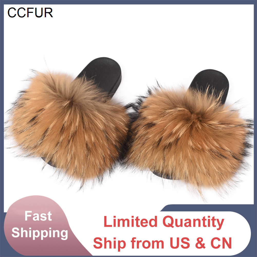 Slippers Slides Raccoon-Fur Wider Women Fashion Indoor Summer New 14cm Autumn Real S6020W