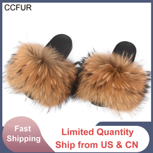 Slippers Raccoon-Fur Fashion Slides Fur Women Wider Summer Indoor Real Top-Quality New