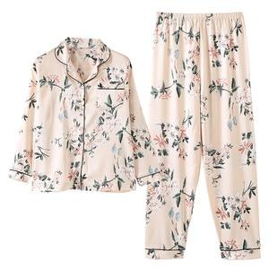 Image 5 - Silk Satin Pyjamas Women Flower Print Pajamas Sets 2019 Long Sleeve Spring Summer Sleepwear Elegant Pijama Mujer Female Nightsui