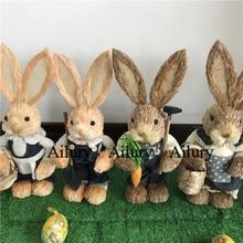 Скидка 50%, 2 шт., H33cm милые соломенные джинсы с кроликом, реквизит для съемки, декор столешницы, подарки на новоселье, украшение на окно, пасхальное украшение