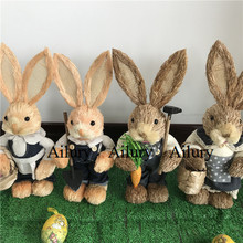 50%off,2pcs,H33cm cute Straw Jeans rabbit,Shooting props,table top decor,housewarming gifts.Window oranment,Easter decoration