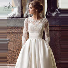 SoDigne 2019 July Wedding dress Long Sleeve A Line Satin Wedding Gown with Train White / Ivory Lace Appliques Bride Dresses цена и фото