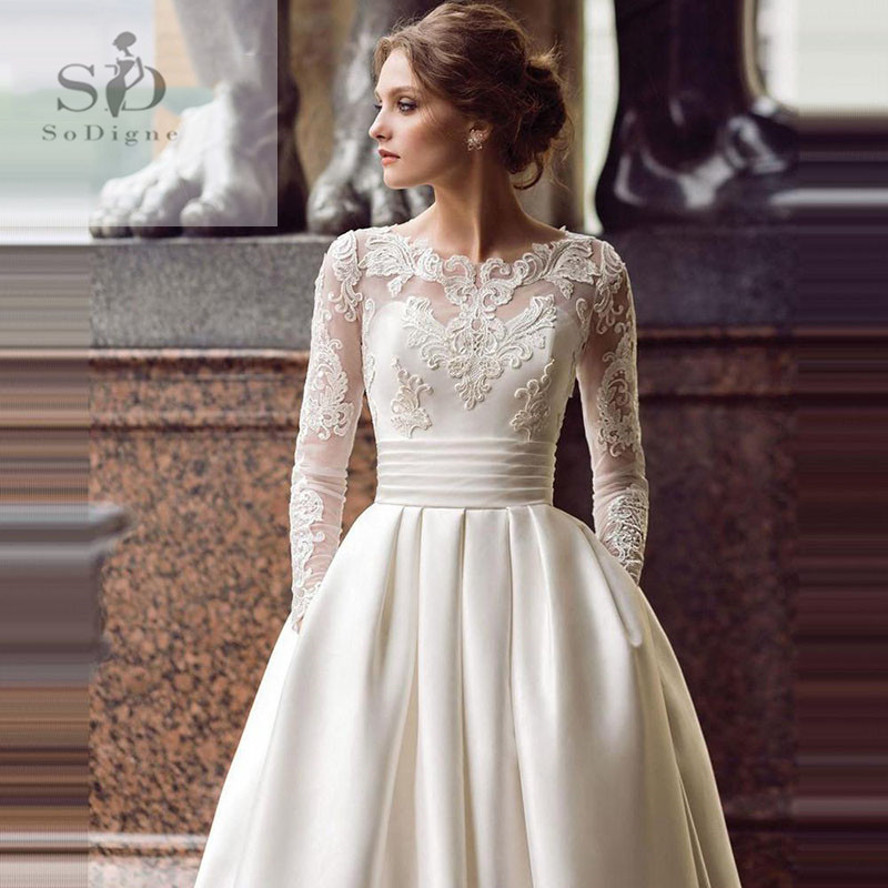 SoDigne 2020 July Wedding Dress Long Sleeve A Line Satin Wedding Gown With Train White / Ivory Lace Appliques Bride Dresses