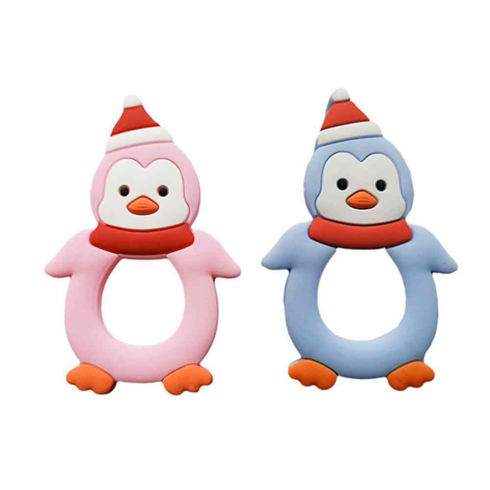 Baby Teether Cartoon Penguin Modeling Silicone Molar Stick Infant Bite Chew Appease Teeth Gel for Girls Boys