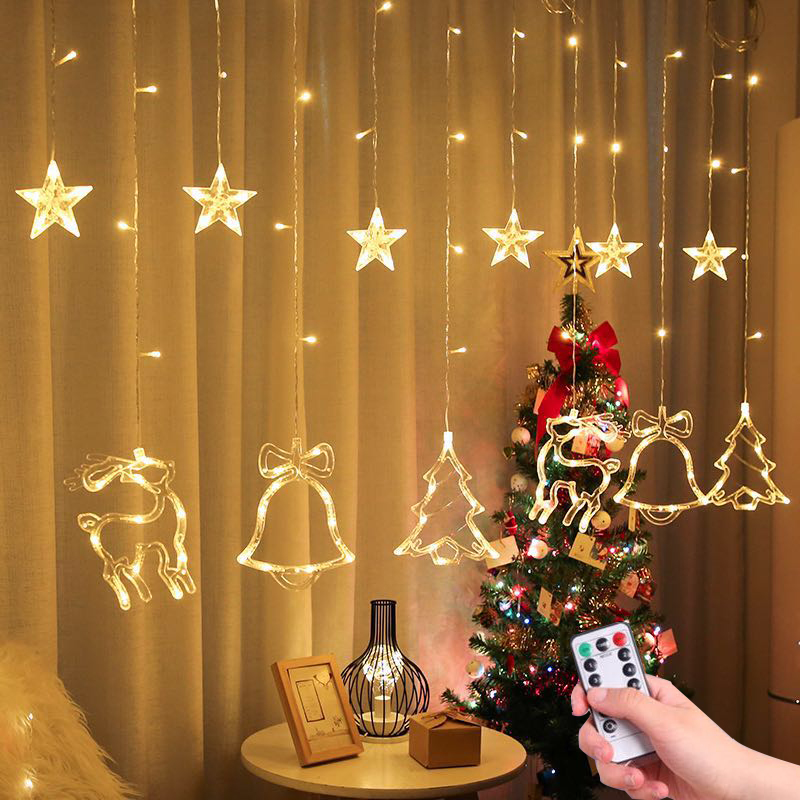 2 5M LED Christmas Deer Tree Bells Star String Fairy Lights Curtain Light Outdoor Garland For Home Party New Year Wedding Decor