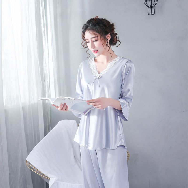 2020 Satin Pyjamas Women Pajamas Sets V-Neck Lace Half Sleeve Nightwear Silk Sleepwear Pijama Mujer Female Nightsuits