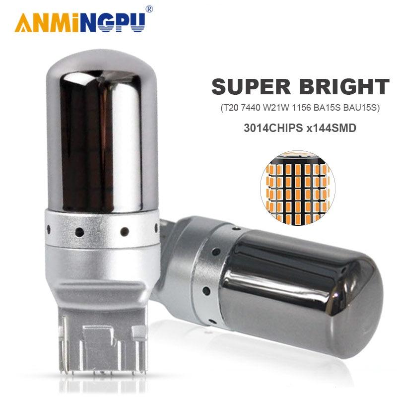 ANMINGPU сигнальная лампа T20 Led 7440 WY21W W21W 3014SMD P21W Led 1156 BA15S BAU15S PY21W светодиодные лампы сигнала поворота светильник s Запасной светильник