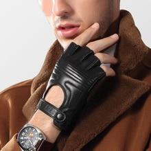 Genuien Leather Male Gloves Half Finger Tactics Driving Sheepskin Man Semi-Finger Mittens TU2539
