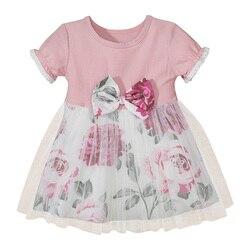 Летнее платье для маленьких девочек, платье принцессы с бантом для новорожденных, милое модное хлопковое газовое Платье с принтом, розовое ...