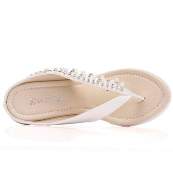 Crystal Queen Women Slippers Summer White Color Style Beaches Flip Flops Platform Sandals Open-toed Casual Shoes Big Size 34-43 3