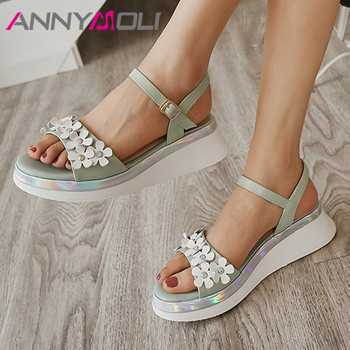 ANNYMOLI Flower Sandals Woman Platform Wedges High Heels Natural Genuine Leather Sandals Sweet Buckle Strap Female Shoes White