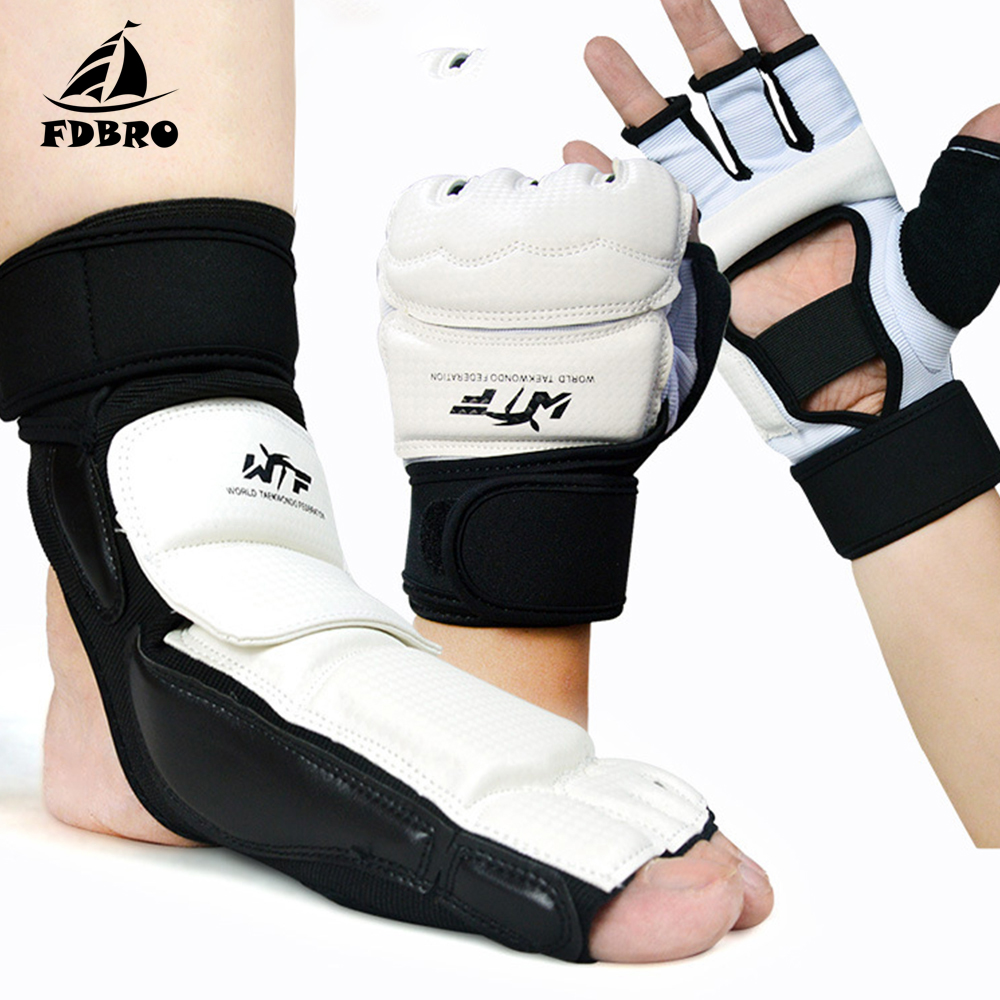 FDBRO Adult Child Taekwondo Protect Gloves Foot Protector Ankle Support Fighting Foot Guard Kickboxing Boot Palm Protect
