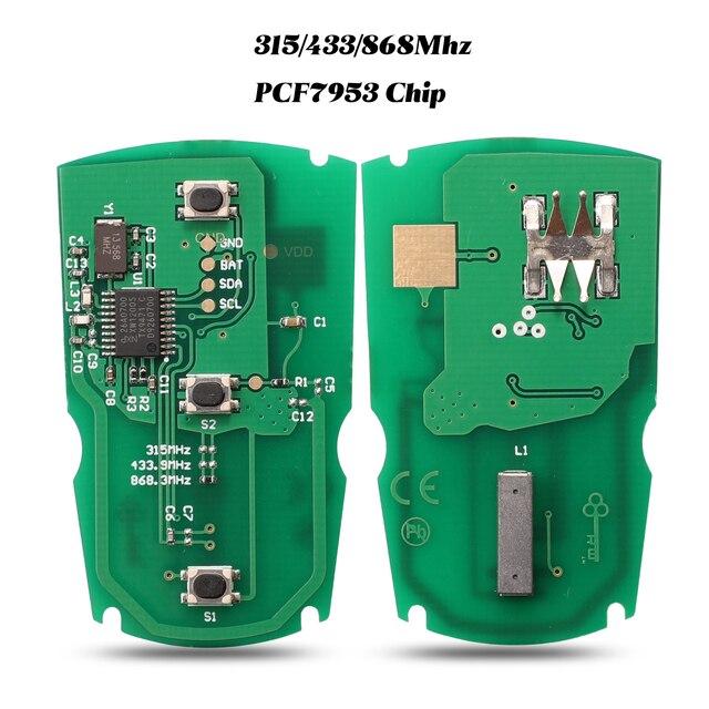 Jingyuqin 5 pces 315mhz/433/ 868mhzfor bmw 1/3/5/7 série cas3 sistema x5 x6 fob id46 pcf7953 chip placa de circuito chave do carro remoto