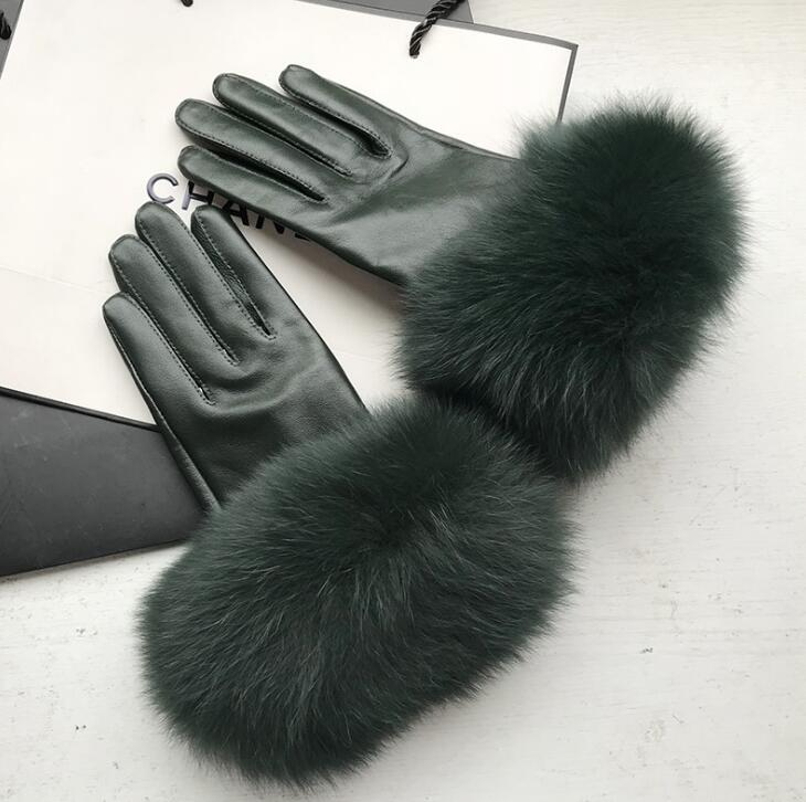 Women's Natural Big Fox Fur Genuine Leather Glove Lady's Warm Natural Sheepskin Leather Plus Size Dark Green Driving Glove R2458