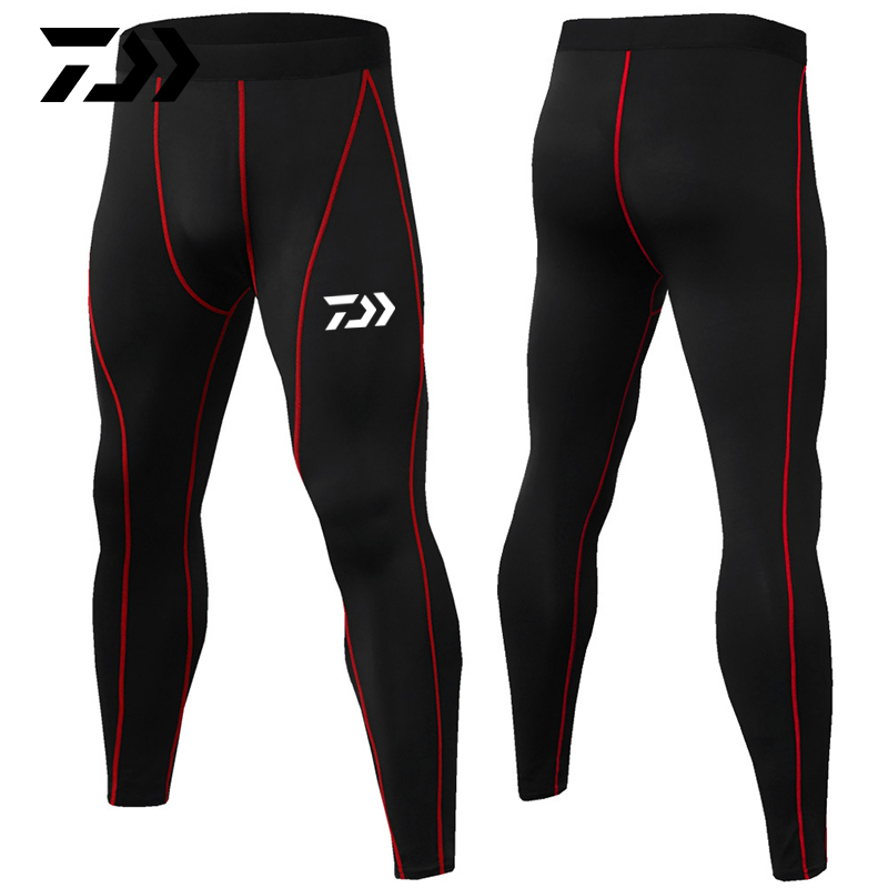 Daiwa Summer Sport Pants Fitness Body Pants Patchwork Breathable Anti-sweat Outdoor Running Riding Cycling Fishing Pants Slim