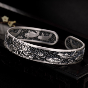 Image 2 - Real Pure 999 Sterling Silver Bangles Carved Fish and Lotus Hollow Design Cuff Bracelets for Women Luxury Jewelry