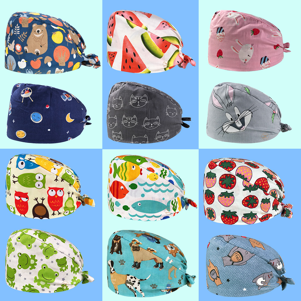 High Quality Nursing Hat Medical Scrub Cap Cartoon Printing Pet Hospital Doctor Hat Surgical Dental Clinic Medical Cap Wholesale