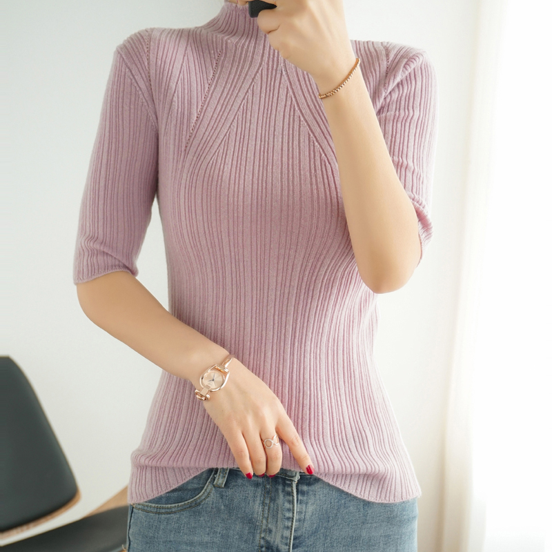 US $37.95 45% OFF HLICYUM Cashmere short sleeved sweater women 2020 new five point sleeve commuter knitwear solid color high collar 100% wool top   
