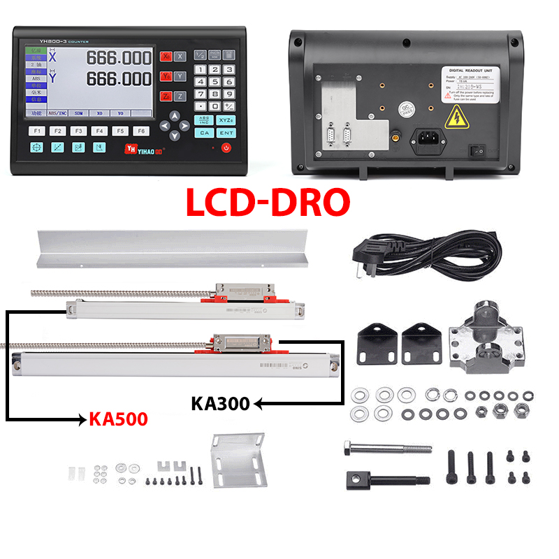 Полный набор из 2-х осевой ЖК-дисплей устройство цифровой индикации DRO и 2 0-1000 мм Стекло линейный энкодер датчики для YH800-2 токарный станок с ЧП...