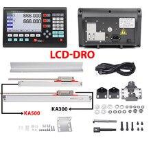 Conjunto completo de 2-axis lcd digital readout dro e 2 0-1000mm vidro codificador linear sensores para YH800-2 torno