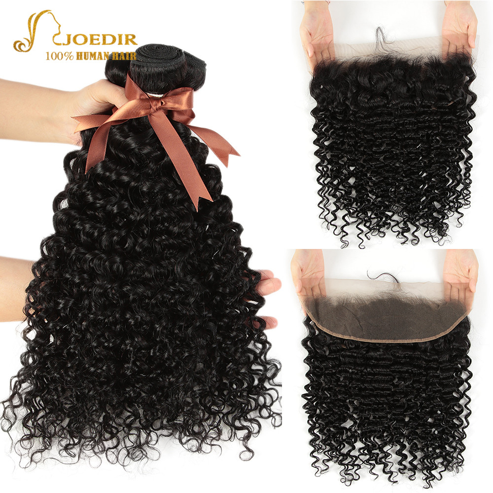 Joedir Hair Water Wave Bundles With Frontal Wet And Wavy Bundles With Frontal 3 Bundles With Frontal Lace Frontal With Bundles-in 3/4 Bundles with Closure from Hair Extensions & Wigs