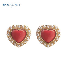 Sansummer New Hot Fashion Romantic Red Heart Pearl Charm Girl Cute Jewelry Set Ring Earring Necklace Bracelet For Women