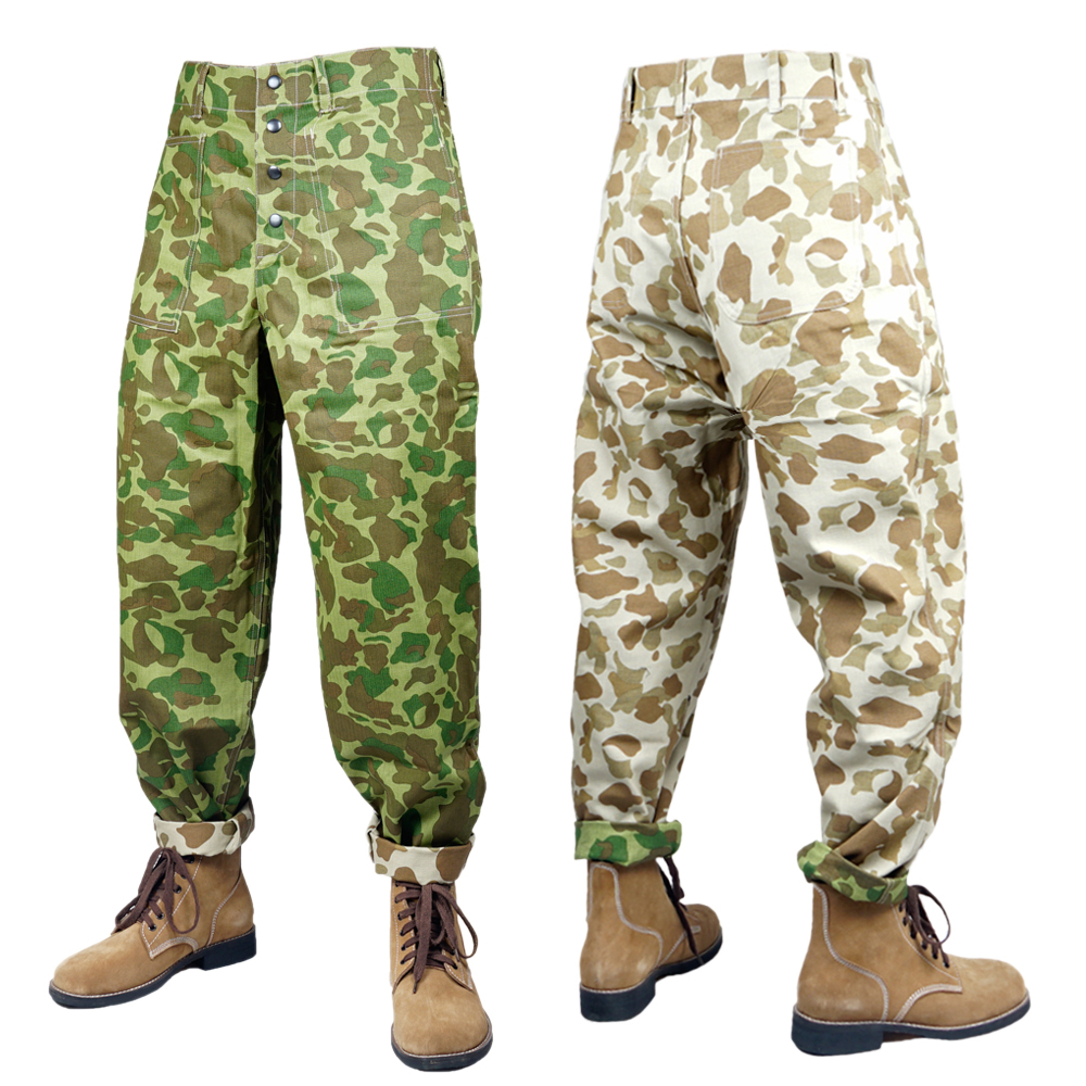 WWII WW2 US USMC HBT PACIFIC UNIFORMS REVERSIBLE CAMOUFLAGE FIELD PANTS OUTDOOR TROUSERS