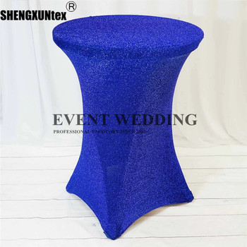 Cheap Price Metallic Shiny Glittered Spandex Cocktail Table Cover Wedding Tablecloth For Event Banquet Decoration фото