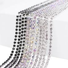 5M 2-3mm Glitter Rhinestones Claw Chain Trim Crystal Silver Base Dense DIY Handcraft Sewing Clothes Accessories