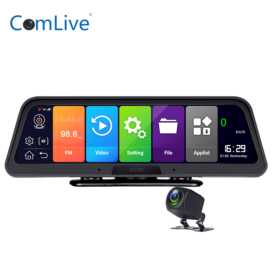 10 Inch Full Touch Screen Android8.1 4G Wifi <font><b>GPS</b></font> ADAS <font><b>Car</b></font> Camera <font><b>DVR</b></font> Video Dash Cam Front Rear And View <font><b>Mirror</b></font> <font><b>Recorder</b></font> 1080P image