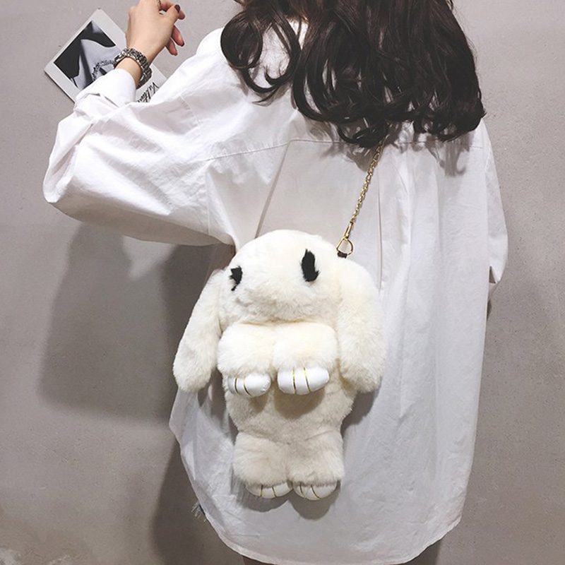Women Girls Korean Style Plush Bags Animal Print Zipper Pocket School Bags Cross Body Plush Doll Rabbit Shape Messenger Bags