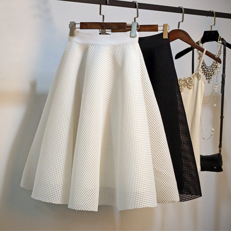2020 Women A-Line Midi Skirt High Waist Plus Size Women Summer White Ball Gown Skirt Vintage Women Skirt Faldas Jupe Femme Saia