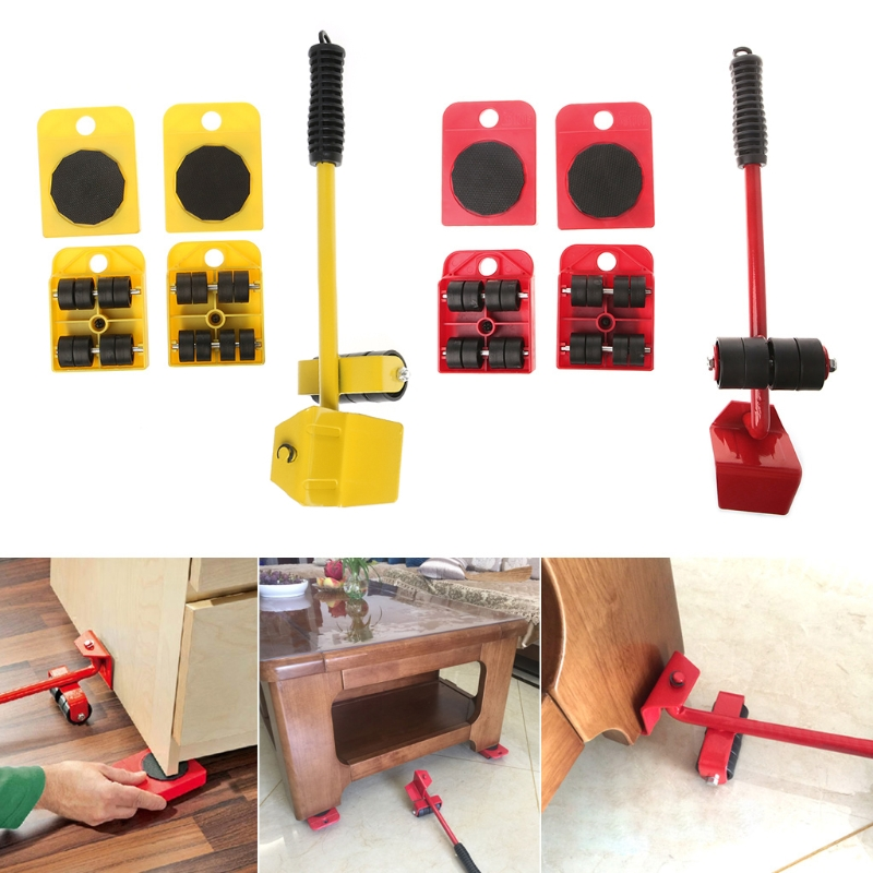 5Pcs Furniture Transport Roller Set Removal Lifting Moving Tool Heavy Move House R9UC