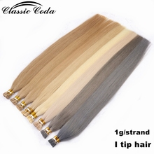 "цена на Classic Coda 50g 22"" 20 blonde full cuticle aligned natural remy italian keratin bond stick itip human hair extension 1g/strand"
