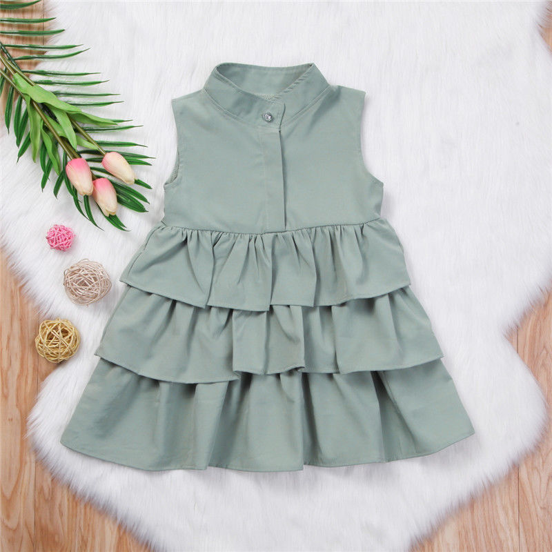 Summer Cute Black Green Ball Gown Girls Dresses Kid Girl Party Dress Sleeveless O Neck Cake Ruffled Tutu Bubble Dress 2-6T 1